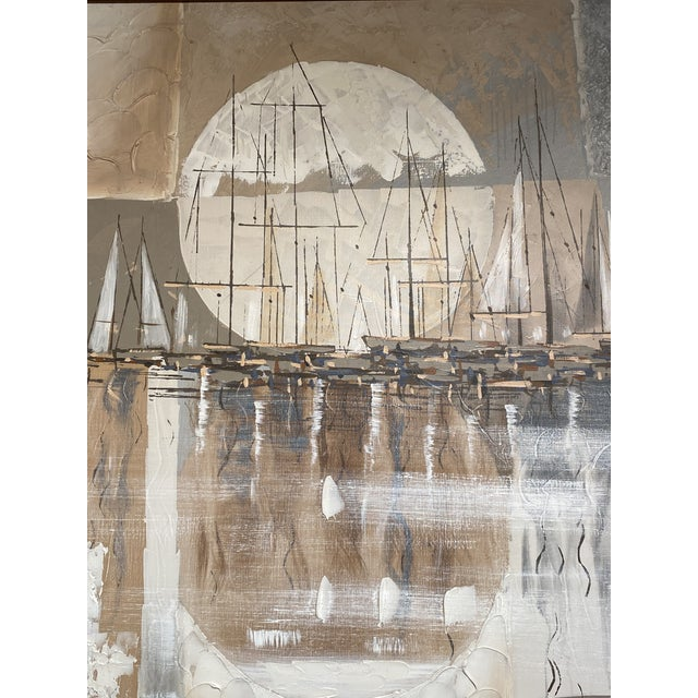 Monumental Signed Oil on Canvas Ferrante Nautical Sailboats Abstract Painting For Sale - Image 4 of 7