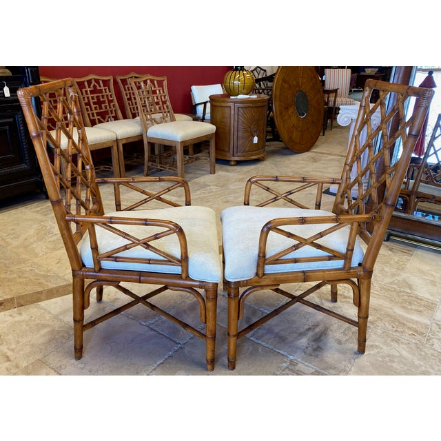 Late 20th Century McGuire Style Bamboo Dining Chairs - Set of 8 For Sale - Image 5 of 13