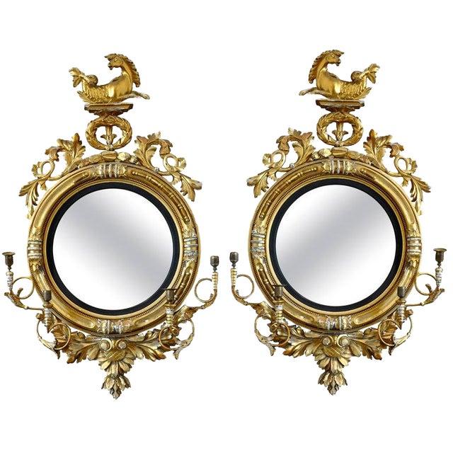 Pair of 19th Century Regency Convex Mirror Girandoles With Hippocampus For Sale