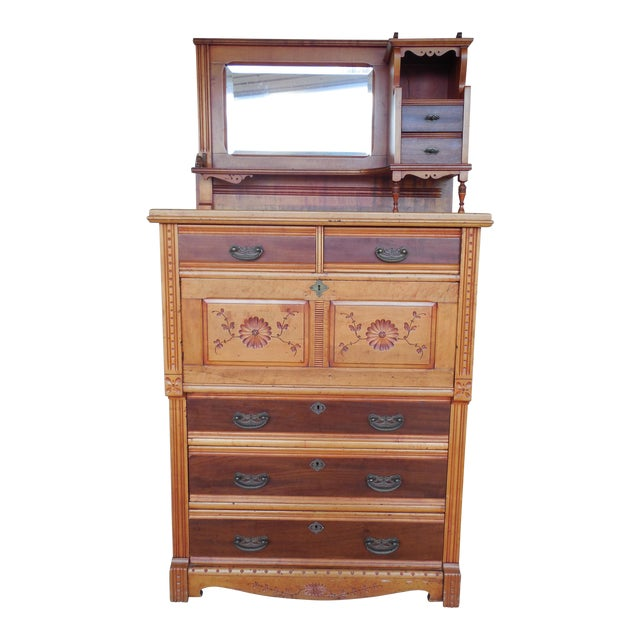 Antique Victorian Spoon Carved Drop Front Secretary Desk / Chest - Antique Victorian Spoon Carved Drop Front Secretary Desk / Chest
