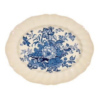 Royal Doulton Blue and White Transferware Serving Platter For Sale