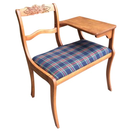 Gossip Telephone Table with Plaid Seat - Image 1 of 6