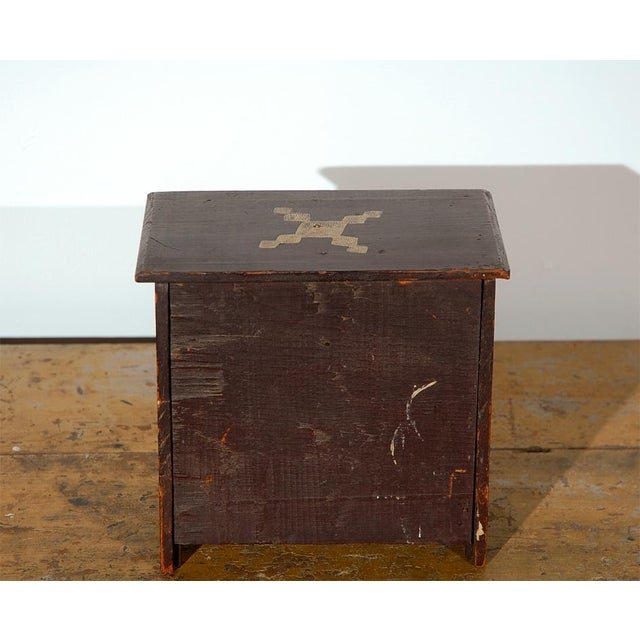 Primitive 19th Century Miniature Chest of Drawers in Original Paint For Sale - Image 3 of 6