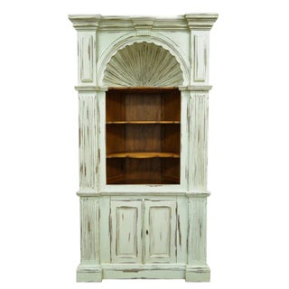 20th Century French Country Shell Carved Blue Distress Painted Corner Cabinet For Sale