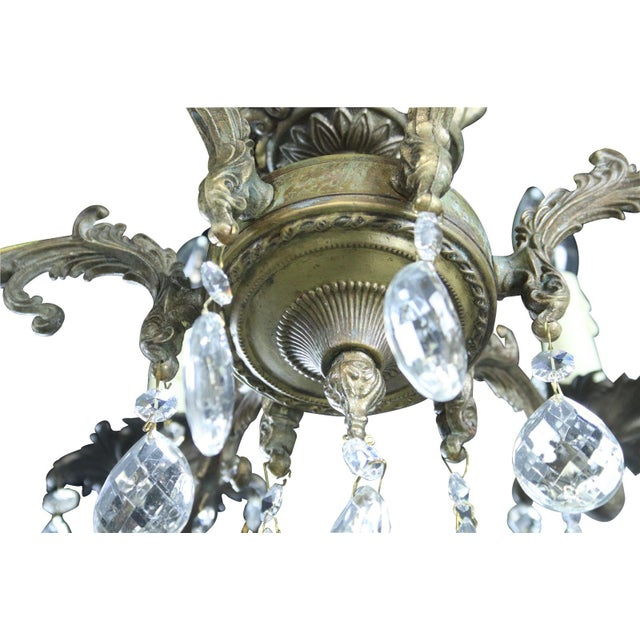 Chandelier Ceramic Floral Metal Vintage French For Sale In Columbia, SC - Image 6 of 9