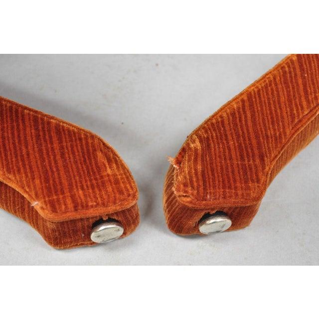 Vintage Mid Century Orange X-Base Frame Upholstered Hollywood Regency Stools- A Pair For Sale - Image 9 of 10