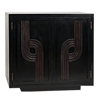 Black Hand Rubbed Gold Deco Sideboard For Sale