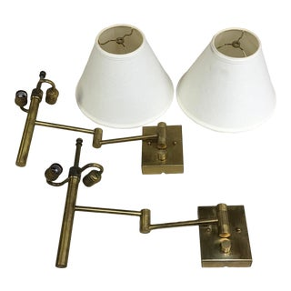 Casella Brass Swing Arm Wall Lights - a Pair For Sale