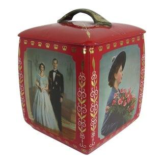 1953 Queen Elizabeth II Prince Philip Coronation Cookie Tin