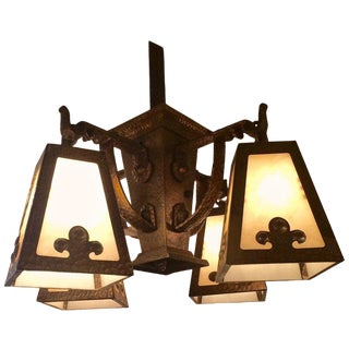 1920s Arts & Crafts Hammered Brass and Art Glass Chandelier