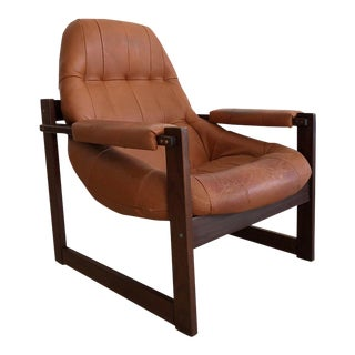 1970s Percival Lafer Brazilian Rosewood & Leather Arm Chair