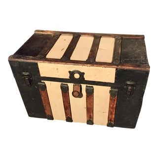 Mid 19th Century Boho Chic Wood and Tin Steamer Trunk