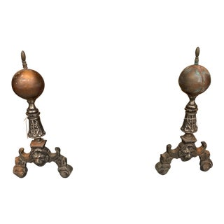 1920s Vintage Brass Cannonball Andirons-a Pair For Sale