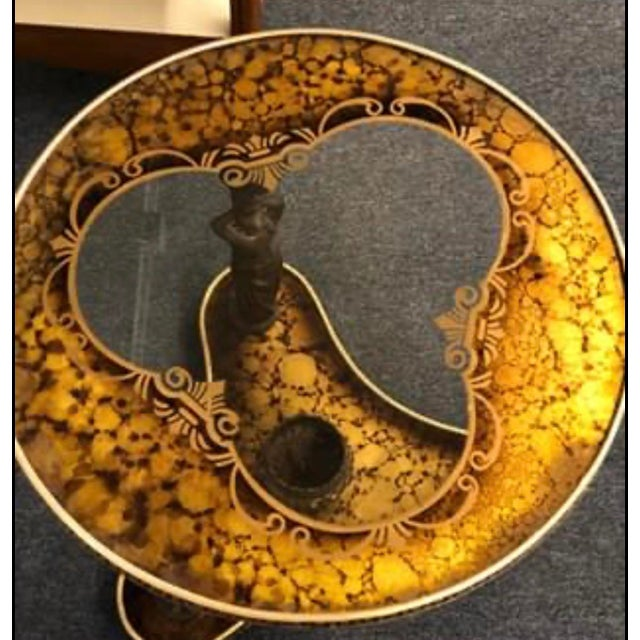 Mid-Century Gold & Bronze Cherub Accent Table For Sale - Image 4 of 8