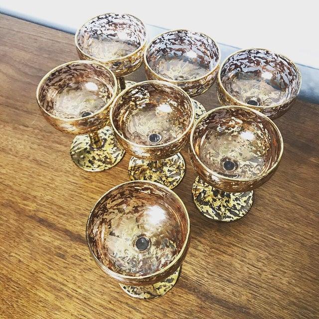 Vintage 22k 70s Gold Flecked Wine Glasses - Set of 7 For Sale - Image 5 of 6