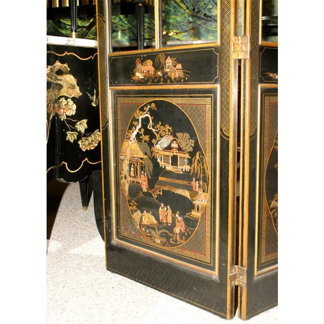 Jansen 3-Panel Chinoiserie Glass Screen - Image 2 of 9