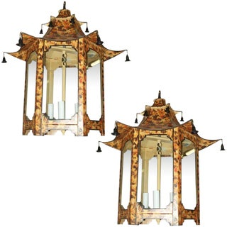 Pair of Custom Tole Pagoda-Shaped Faux-Tortoise Fixtures