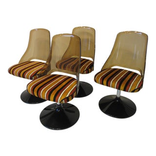 1970's Upholstered Lucite Tulip Dining Chairs - Set of 4 For Sale