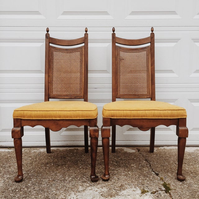 Early American Wood Cane Dining Chairs - a Pair For Sale In Boston - Image 6 of 6