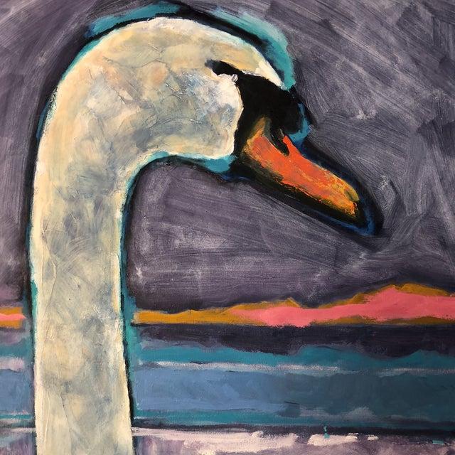 Figurative Large Vintage Original Modernist Swan Painting For Sale - Image 3 of 9