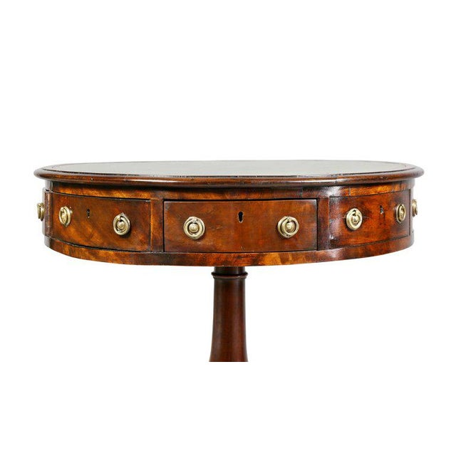 Regency Mahogany and Ebony Small Drum Table For Sale - Image 5 of 9