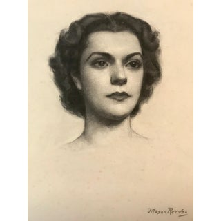 Original 1950s Charcoal Portrait of a Woman by Joseph Mason Reeves
