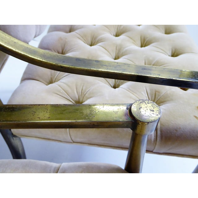 1960s Vintage Mastercraft Brass Tufted Velvet Dining Chairs - Set of 6 For Sale - Image 10 of 13