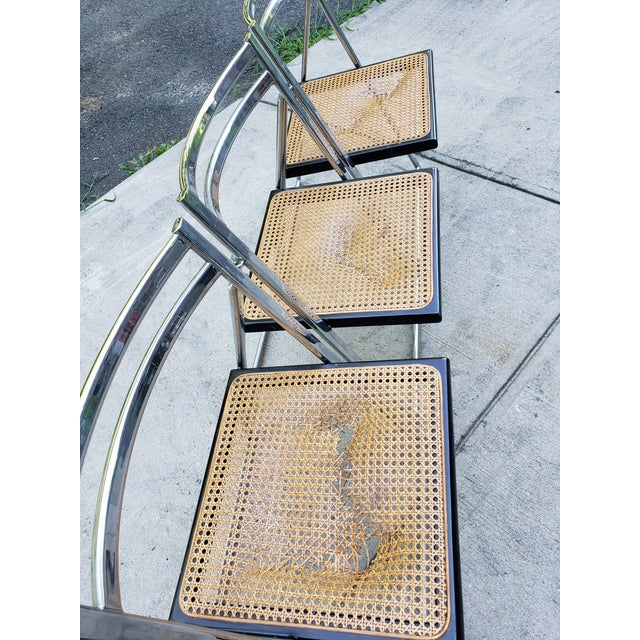 Black Mid Century Modern Chrome & Cane Folding Chairs- Set of 4 For Sale - Image 8 of 13
