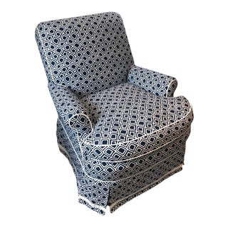 Custom Upholstered Navy and White Chair For Sale