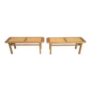 Mid Century Vintage Brown & Saltman Wooden Benches- A Pair For Sale
