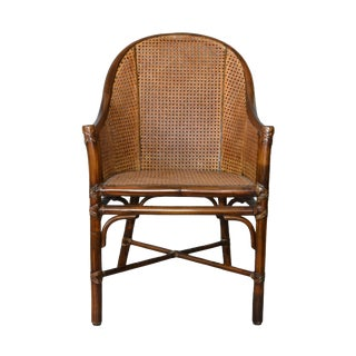 McGuire Mid-Century Modern Bamboo & Cane Armchair with Leather Bindings For Sale