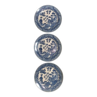 Blue and White Chinoiserie Willow Plates- Japan - Set of 3 For Sale