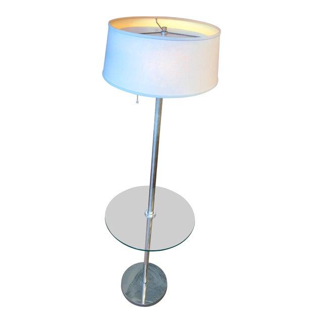 Mid Century Walter Von Nessen Chrome Tray Table Floor Lamp For Sale