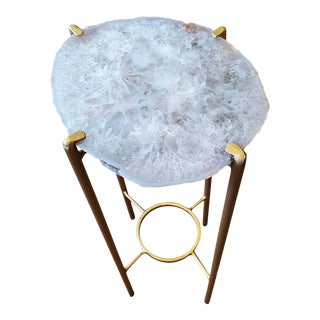 Organic Modern Clear Crystal Geode Drink Table With Gold Gilt Base For Sale