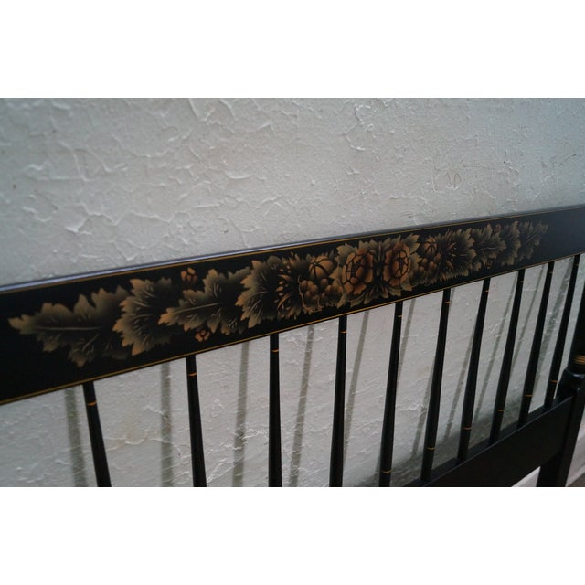 Wood Hitchcock Black Painted Stenciled Full Size Headboard For Sale - Image 7 of 10