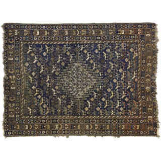 Worn-In Distressed Antique Persian Shiraz Accent Rug - 3'7 X 4'8 For Sale