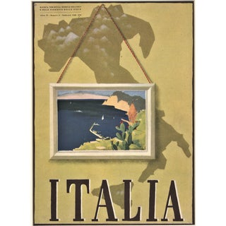 Italy Travel Map Vintage Matted Lithograph 1938 For Sale