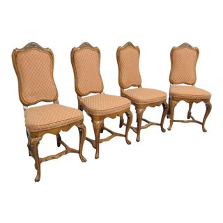 Italian Walnut Carved Dining Chairs- Set of 4 For Sale