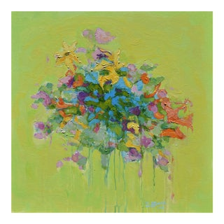 Stephen Remick Abstract Bouquet on Green Background Painting For Sale