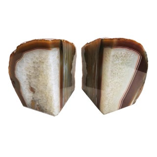 Pair of Polished Geode Bookends For Sale