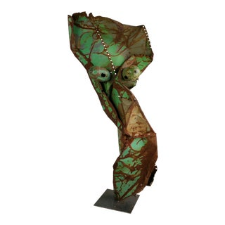 "Monumental 5 Foot Metal Abstract Brutalist Sculpture ""Woman"" John Metzen For Sale"