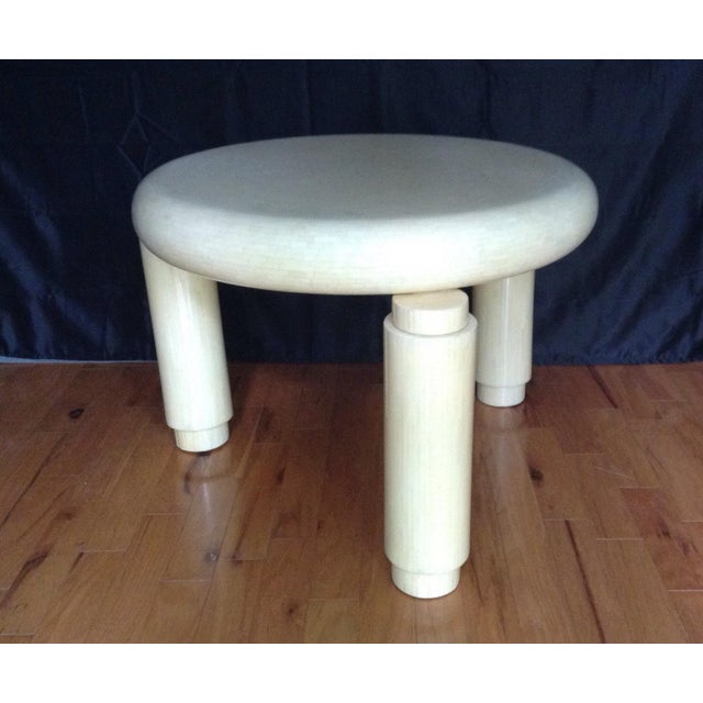 Stunning Tessellated bone, three leg corner table made in Columbia. Thick 5 round legs which holds a 30 X 30 round top...
