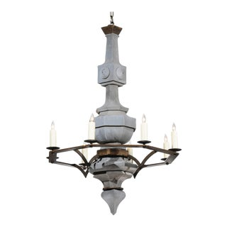Grand Scale Contemporary Industrial Zinc Chandelier Made of 19th Century Finial For Sale
