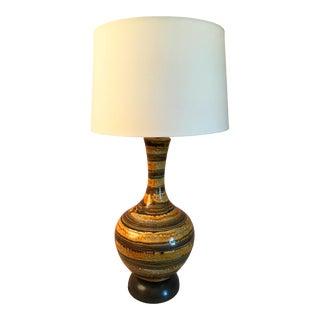 1960s Mid Century Modern Ceramic Drip Glaze Lamp For Sale