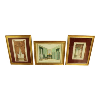 Mid 19th Century Vintage Collection of French Draperies Lithographs- Set of 3 For Sale
