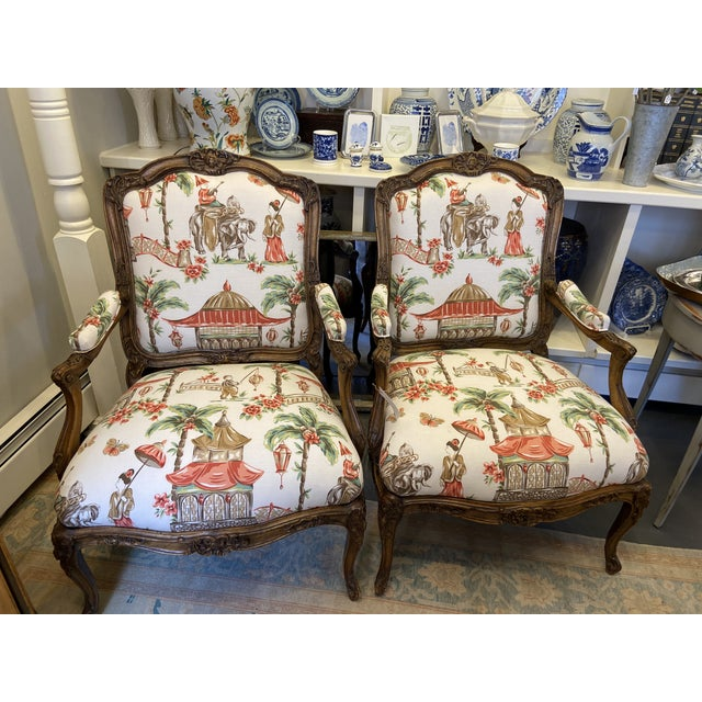 1920s French Carved Wood Chairs with Chinoiserie Fabric - a Pair For Sale - Image 10 of 10