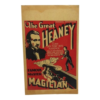 Vintage The Great Heaney Master Magician Show Poster/Sign For Sale