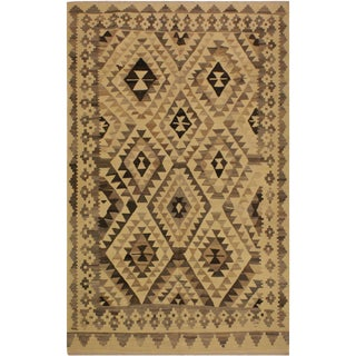 Susanne Ivory/Brown Hand-Woven Kilim Wool Rug -6'0 X 7'10 For Sale