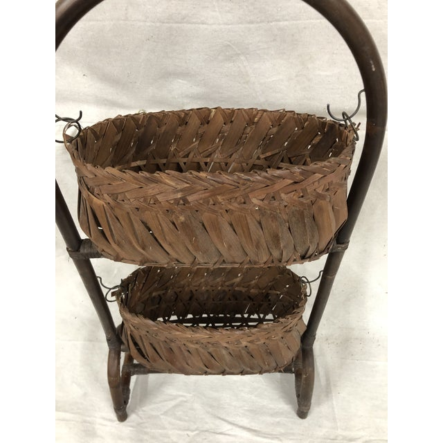 Wood Mid-Century Bentwood Two Basket Organizer For Sale - Image 7 of 11