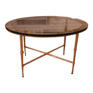 Iron & Gold Leaf Glass Top Low Table For Sale